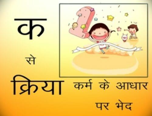 क्रिया कर्म के आधार पर भेद – I Want To Learn Hindi