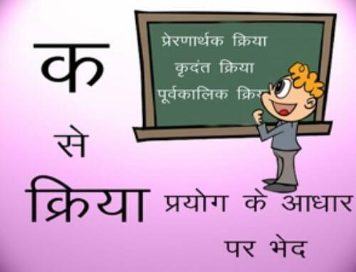 क्रिया प्रयोग के आधार पर भेद – Online Hindi Classes