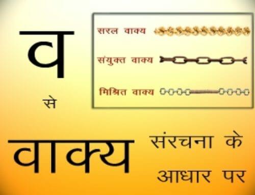 Vaakya sanrachana ke aadhaar par – Vaakya – I Want To Learn Hindi